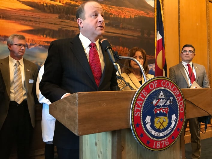 DENVER, CO - MARCH 10: Gov. Jared Polis speaks during a press conference in the Governor's office at the Colorado Capitol on Tuesday morning, March 10, 2020. (Photo by Hyoung Chang/The Denver Post)